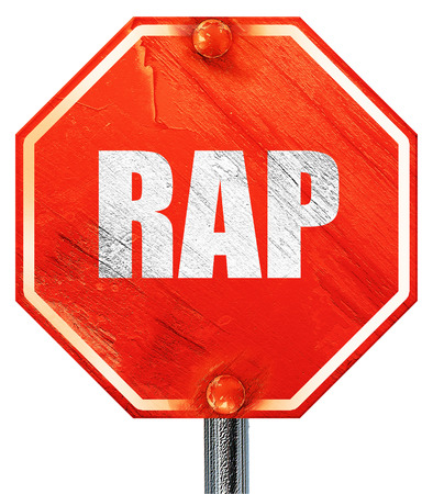 rap: rap music, 3D rendering, a red stop sign