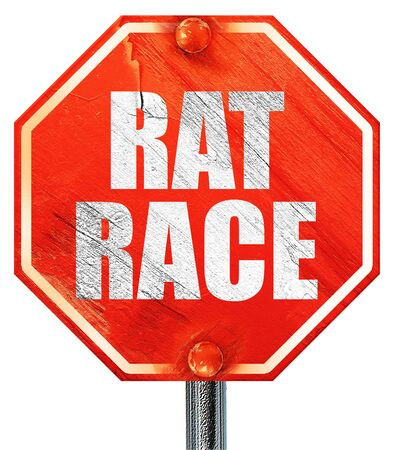 downshift: rat race, 3D rendering, a red stop sign Stock Photo