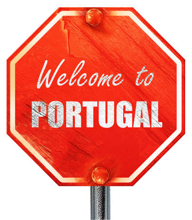 portugese: Welcome to portugal card with some soft highlights, 3D rendering, a red stop sign Stock Photo