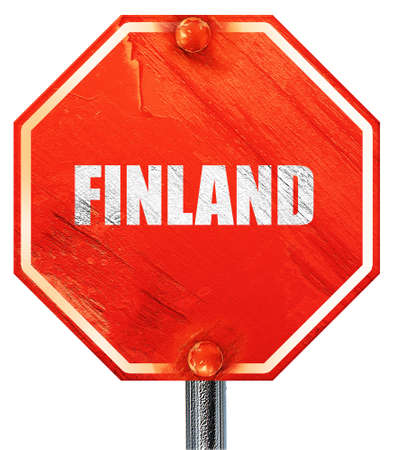 isolation backdrop: finland card with some soft highlights, 3D rendering, a red stop sign