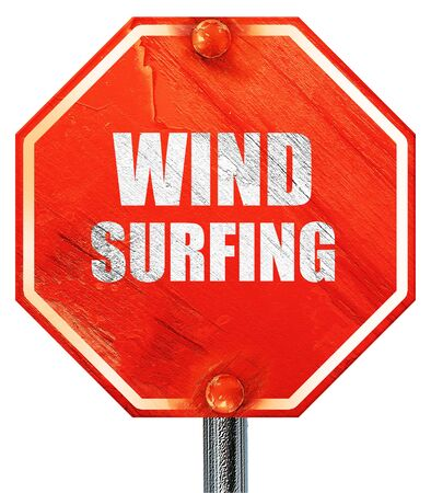 wind surfing: wind surfing sign background with some soft smooth lines, 3D rendering, a red stop sign