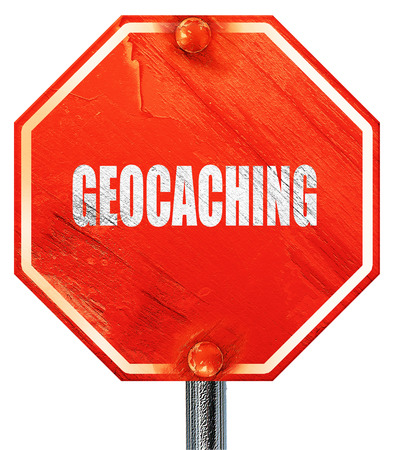 caching: geocaching sign background with some soft smooth lines, 3D rendering, a red stop sign