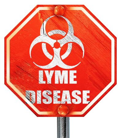 lyme: Lyme virus concept background with some soft smooth lines, 3D rendering, a red stop sign