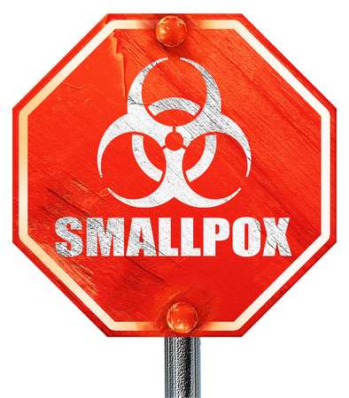 smallpox: smallpox concept background with some soft smooth lines, 3D rendering, a red stop sign Stock Photo
