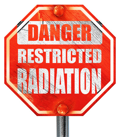 uranium radioactivity: Nuclear danger background on a grunge background, 3D rendering, a red stop sign Stock Photo