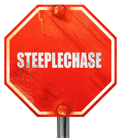 steeplechase: Steeplechase sign background with some soft smooth lines, 3D rendering, a red stop sign
