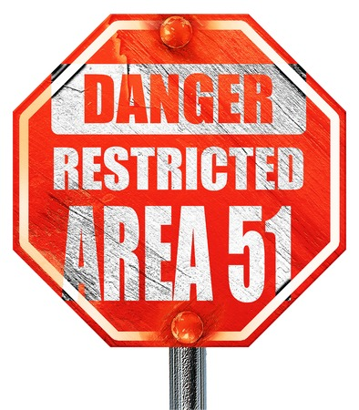 51: area 51 sign with some soft flowing lines, 3D rendering, a red stop sign Stock Photo