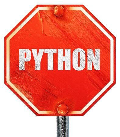 computer language: python computer language, 3D rendering, a red stop sign Stock Photo