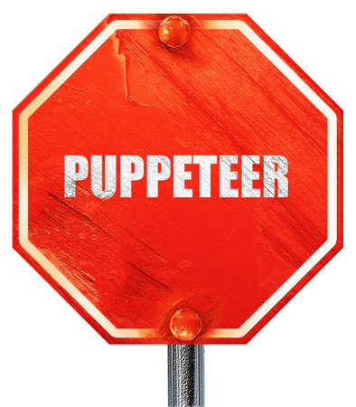 puppeteer: puppeteer, 3D rendering, a red stop sign