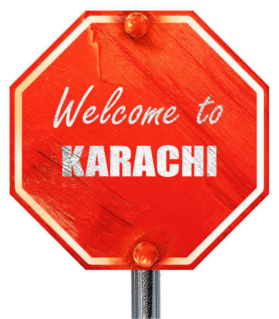 karachi: Welcome to karachi with some smooth lines, 3D rendering, a red stop sign