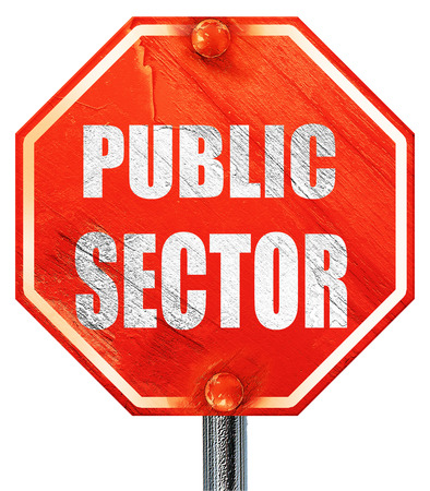 sector: public sector, 3D rendering, a red stop sign Stock Photo