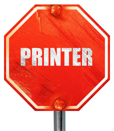 scaner: printer, 3D rendering, a red stop sign Stock Photo