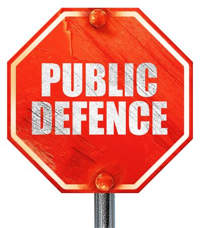 make public: public defence, 3D rendering, a red stop sign