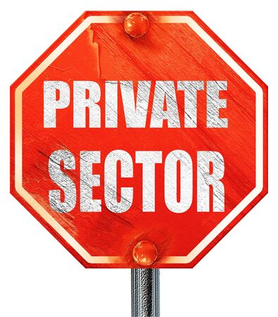 private domain: private sector, 3D rendering, a red stop sign Stock Photo