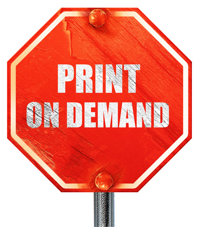 print on demand, 3D rendering, a red stop sign