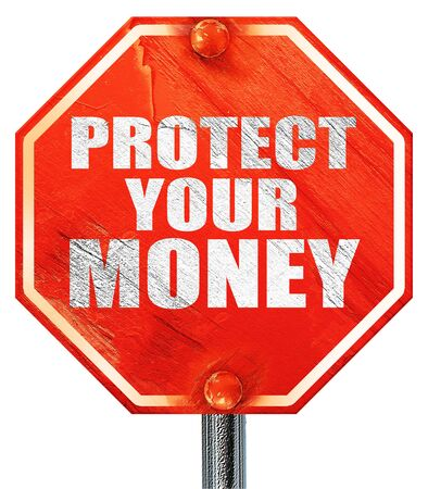 protecting your business: protect your money, 3D rendering, a red stop sign