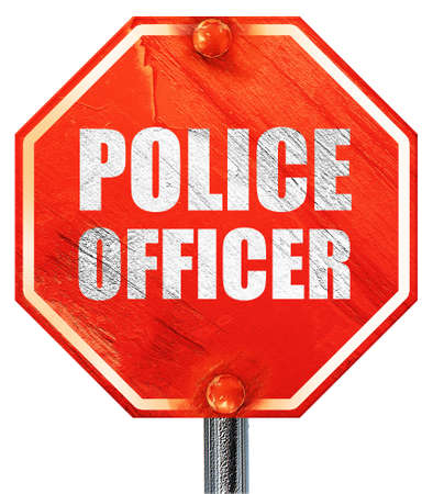 lightbar: police officer, 3D rendering, a red stop sign Stock Photo