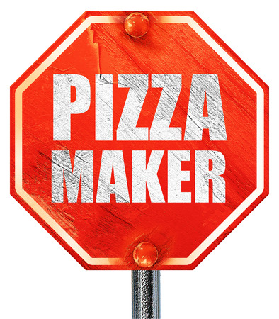 pizza maker: pizza maker, 3D rendering, a red stop sign