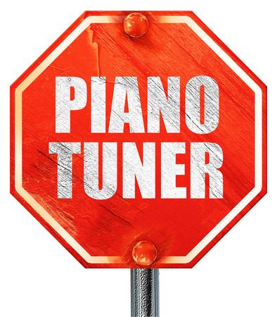 tuner: piano tuner, 3D rendering, a red stop sign