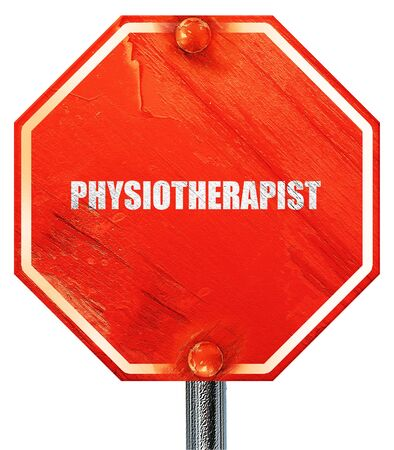 physiotherapist: physiotherapist, 3D rendering, a red stop sign