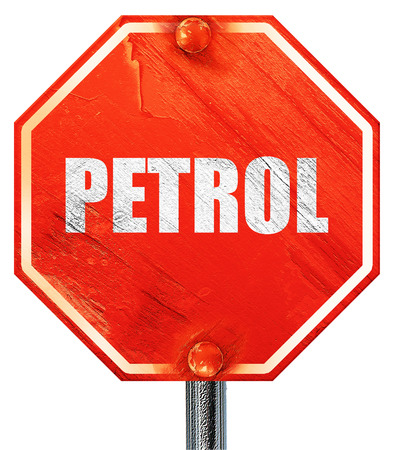 isolation tank: petrol, 3D rendering, a red stop sign