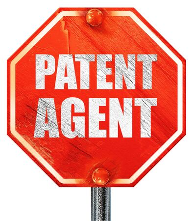 infringement: patent agent, 3D rendering, a red stop sign Stock Photo