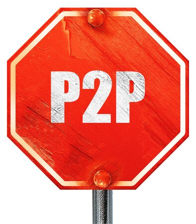 p2p: p2p, 3D rendering, a red stop sign Stock Photo