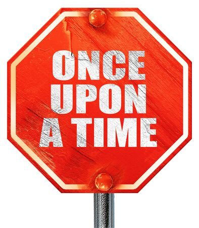 once person: once upon a time, 3D rendering, a red stop sign Stock Photo