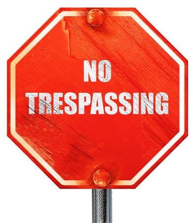 prohibido el paso: Ninguna muestra de violación con los colores negro y naranja, 3D, una señal de stop roja