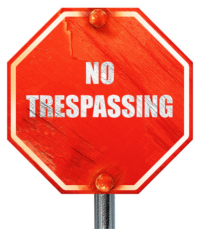 trespassing: No trespassing sign with black and orange colors, 3D rendering, a red stop sign
