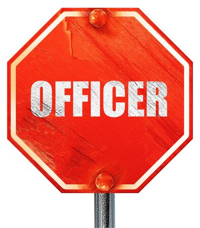 lightbar: officer, 3D rendering, a red stop sign Stock Photo