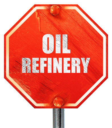 isolation tank: oil refinery, 3D rendering, a red stop sign