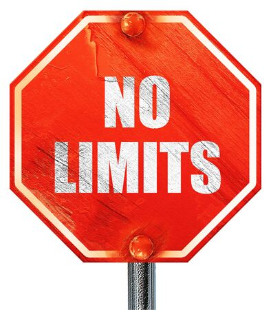 no limits: no limits, 3D rendering, a red stop sign Stock Photo