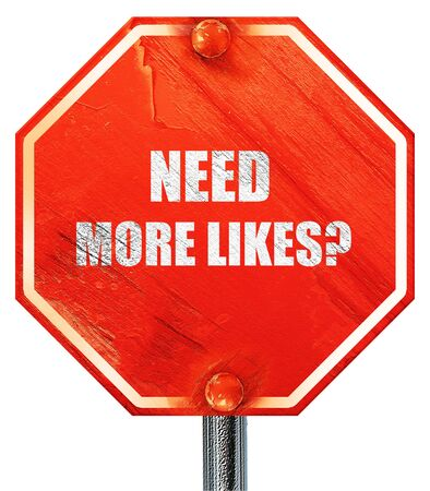 profile measurement: need more likes, 3D rendering, a red stop sign Stock Photo