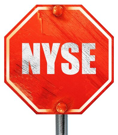 nyse: nyse, 3D rendering, a red stop sign