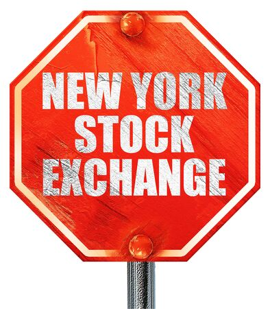 new york stock exchange: new york stock exchange, 3D rendering, a red stop sign