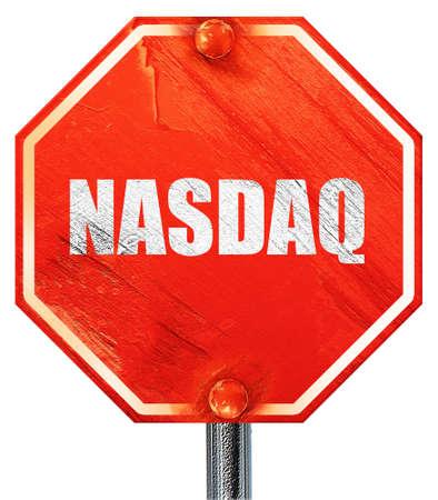 nasdaq: nasdaq, 3D rendering, a red stop sign Stock Photo