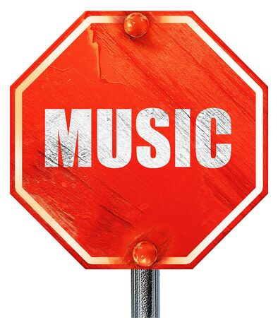 music 3d: music, 3D rendering, a red stop sign