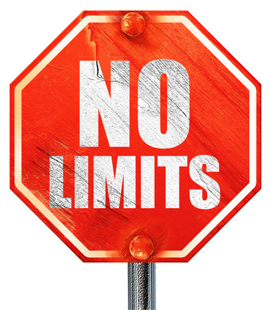 limits: no limits, 3D rendering, a red stop sign Stock Photo