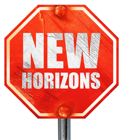 new horizons: new horizons, 3D rendering, a red stop sign