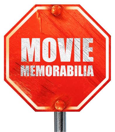 memorabilia: movie memorabilia, 3D rendering, a red stop sign