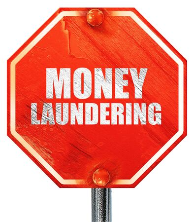 aml: money laundering, 3D rendering, a red stop sign