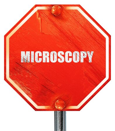 histology: microscopy, 3D rendering, a red stop sign