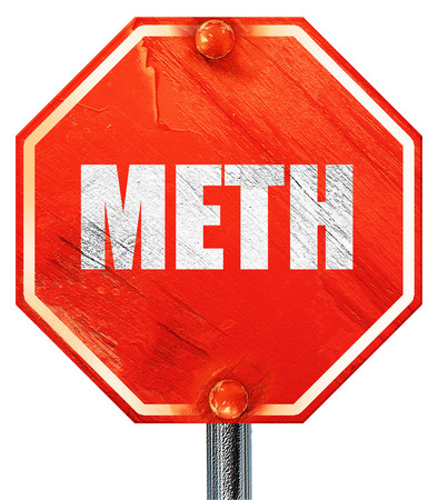 meth: meth, 3D rendering, a red stop sign Stock Photo
