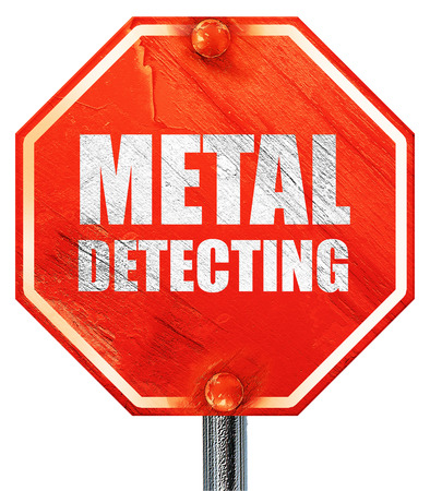 detecting: metal detecting, 3D rendering, a red stop sign Stock Photo