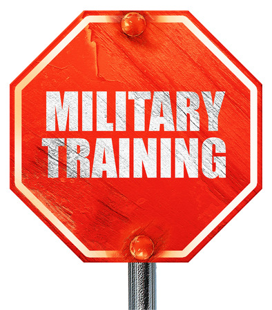 sniper training: military training, 3D rendering, a red stop sign Stock Photo