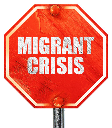 migrant: migrant crisis, 3D rendering, a red stop sign