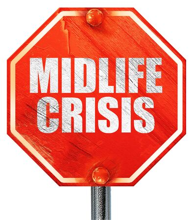 midlife: midlife crisis, 3D rendering, a red stop sign Stock Photo
