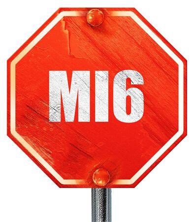 mi6 secret service, 3D rendering, a red stop sign