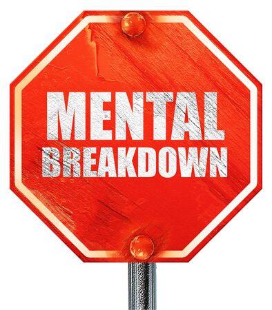 psyche: colapso mental, 3D, una señal de stop roja Foto de archivo